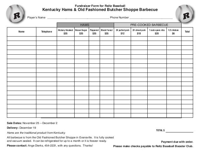 Fundraiser Form for Reitz Baseball  Kentucky Hams & Old Fashioned Butcher Shoppe Barbecue  Player's Name _________________...