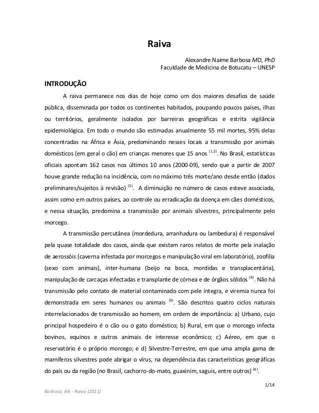 1/14 Barbosa, AN - Raiva (2011) Raiva Alexandre Naime Barbosa MD, PhD Faculdade de Medicina de Botucatu – UNESP INTRODUÇÃO...