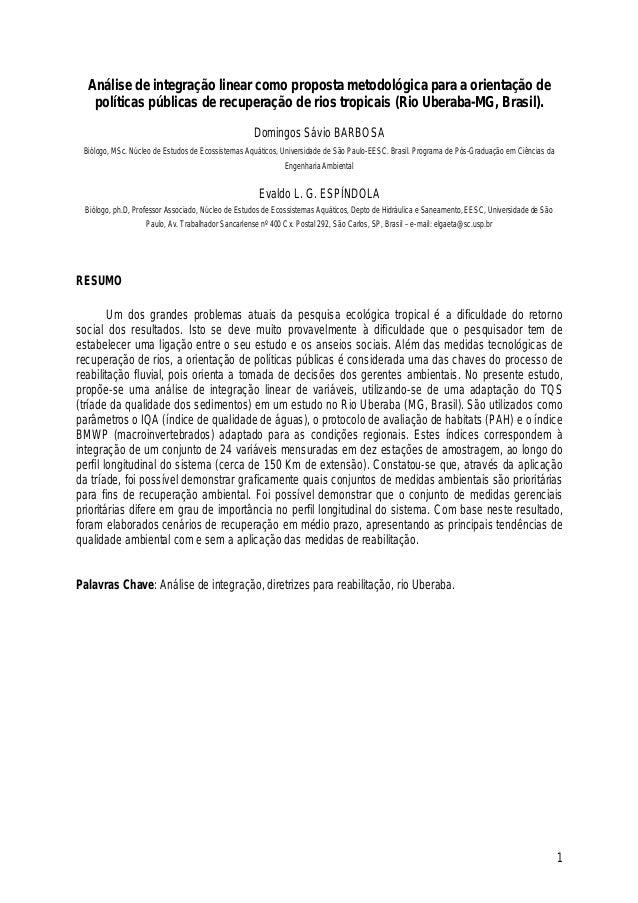 1 Análise de integração linear como proposta metodológica para a orientação de políticas públicas de recuperação de rios t...