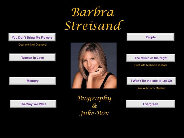 BarbraStreisandBiography&Juke-BoxYou Dont Bring Me FlowersWoman in LoveMemoryThe Way We WerePeopleThe Music of the NightI ...