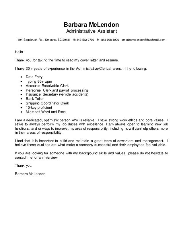 Barbara McLendon / Administrative Assistant Cover Letter