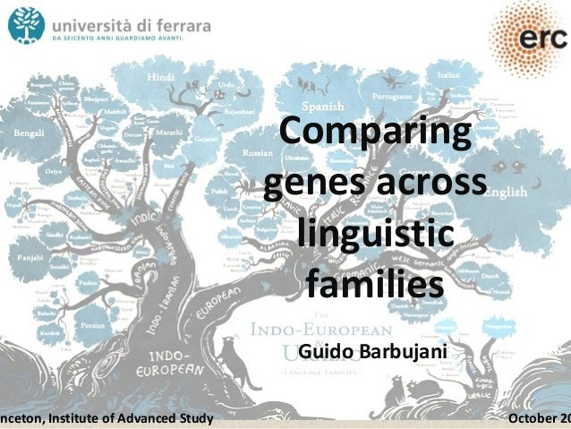Comparing genes across linguistic families Guido Barbujani inceton, Institute of Advanced Study October 20