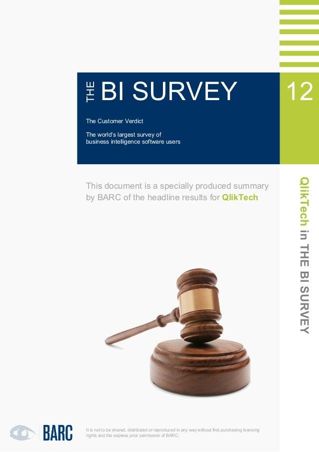 1   QlikTech in THE BI SURVEY 12              THE                      BI SURVEY                                          ...