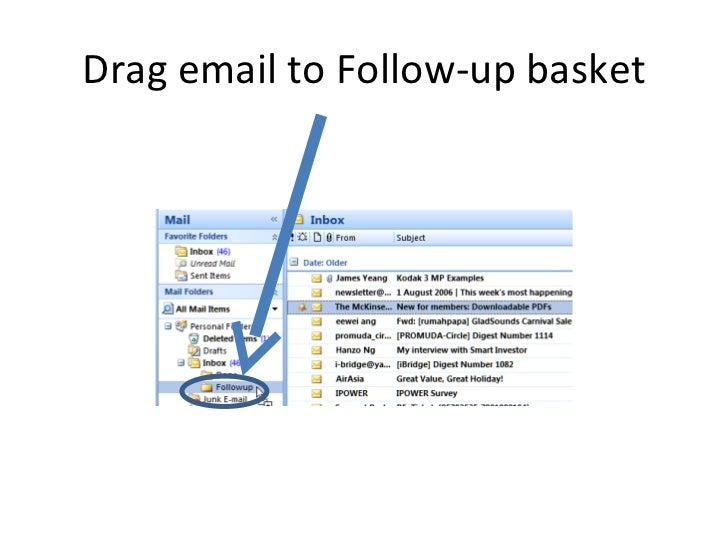 Drag email to Follow-up basket