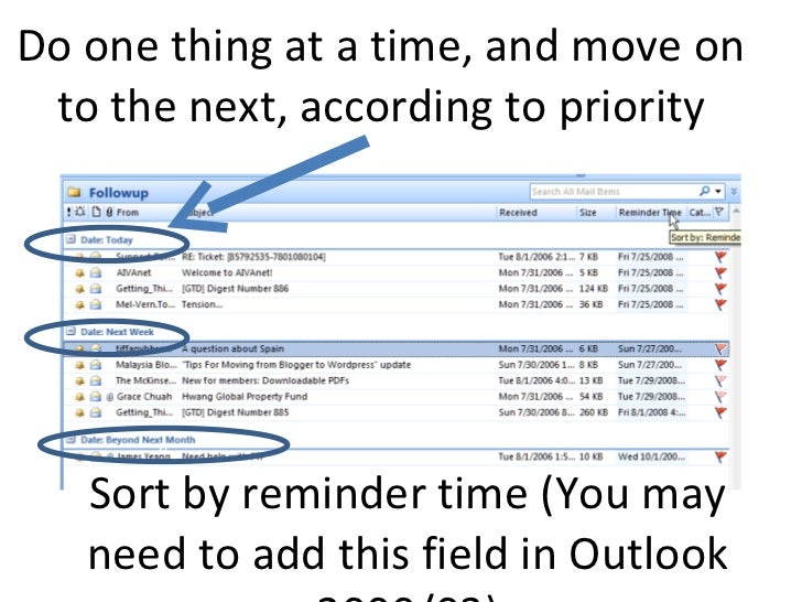 Do one thing at a time, and move on to the next, according to priority a Sort by reminder time (You may need to add this f...