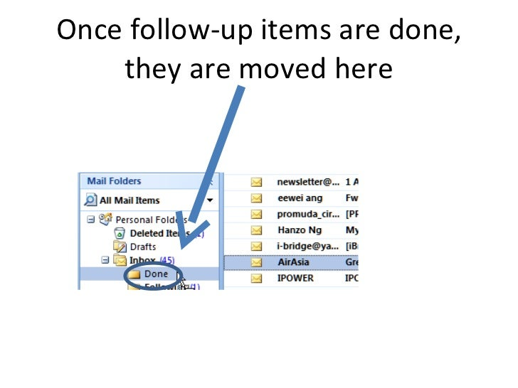Once follow-up items are done, they are moved here