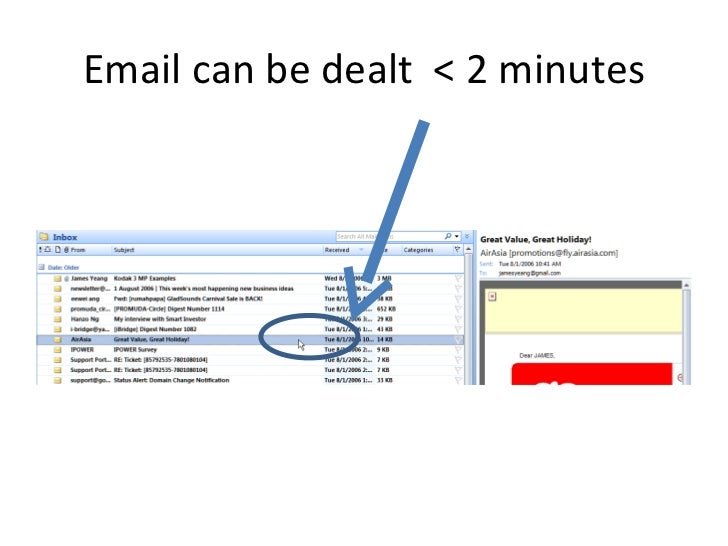 Email can be dealt  < 2 minutes