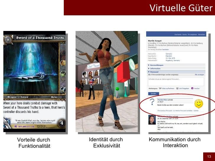 Virtuelle Güter Identität durch  Exklusivität Vorteile durch  Funktionalität Kommunikation durch  Interaktion