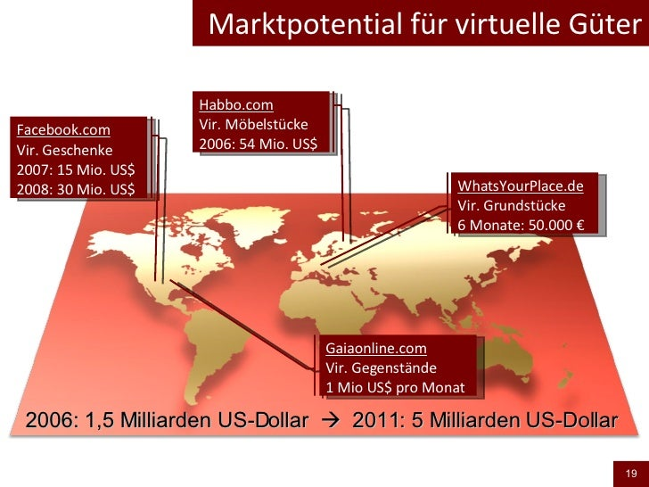 Marktpotential für virtuelle Güter 2006: 1,5 Milliarden US-Dollar     2011: 5 Milliarden US-Dollar  WhatsYourPlace.de Vir...