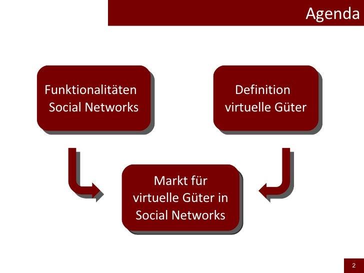Agenda Funktionalitäten  Social Networks Definition  virtuelle Güter Markt für virtuelle Güter in Social Networks