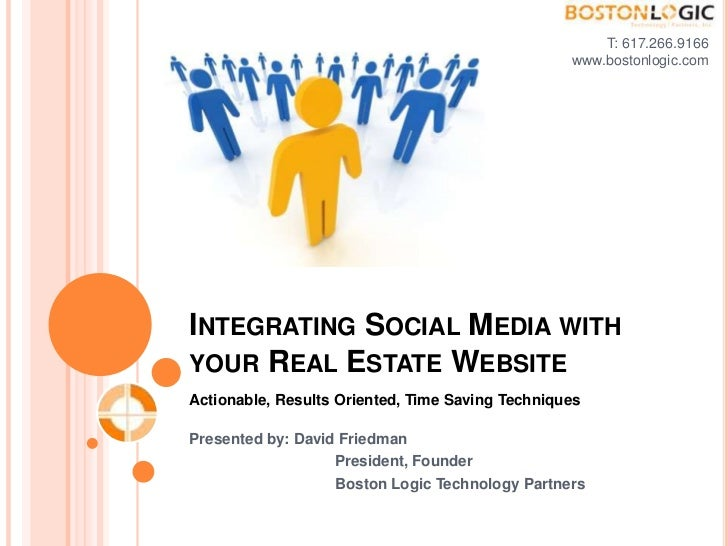T: 617.266.9166<br />www.bostonlogic.com <br />Integrating Social Media with your Real Estate Website<br />Actionable, Res...