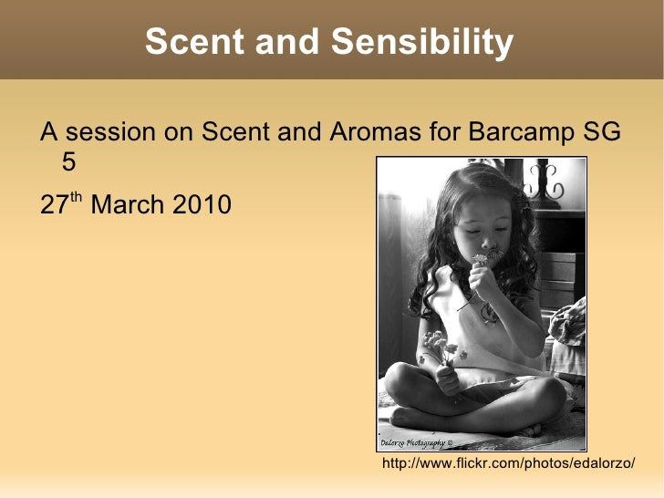 Scent and Sensibility <ul><li>A session on Scent and Aromas for Barcamp SG 5
