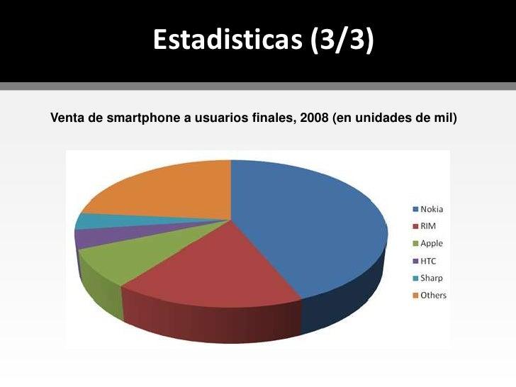 La informacion esta en la palma de la mano</li></li></ul><li>Estadisticas (1/3)<br /><ul><li>11/marzo/2009 @ Gartner, Inc*...