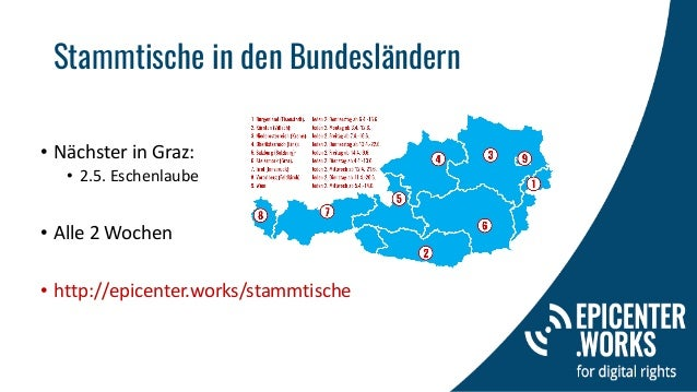 Stammtische in den Bundesländern • Nächster in Graz: • 2.5. Eschenlaube • Alle 2 Wochen • http://epicenter.works/stammtisc...