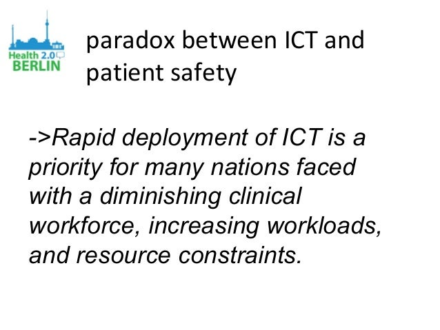 paradox between ICT and patient safety ->Rapid deployment of ICT is a priority for many nations faced with a diminishing c...