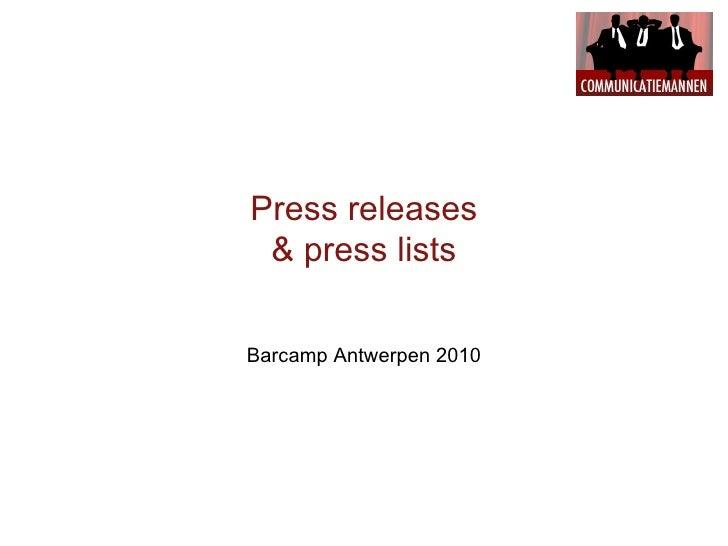Press releases & press lists Barcamp Antwerpen 2010