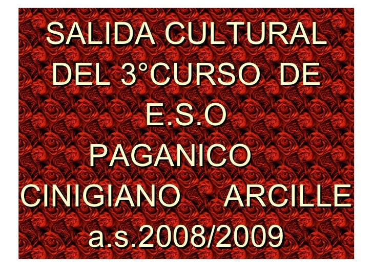SALIDA CULTURAL DEL 3°CURSO  DE E.S.O PAGANICO   CINIGIANO    ARCILLE a.s.2008/2009