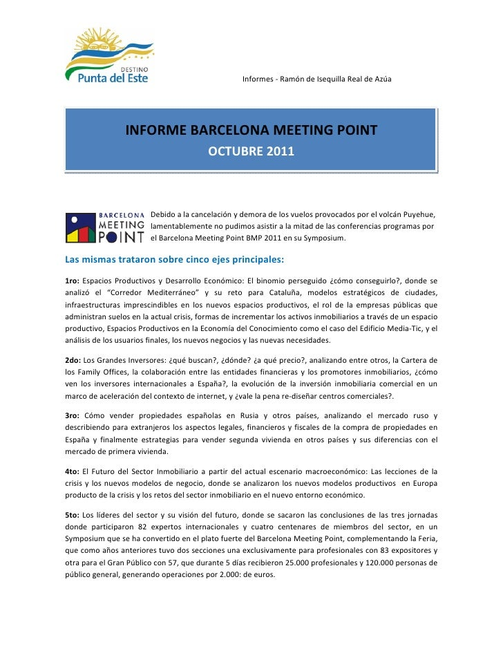 Informes - Ramón de Isequilla Real de Azúa                 INFORME BARCELONA MEETING POINT                                ...