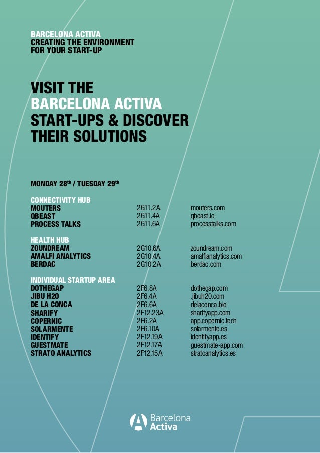 VISIT THE BARCELONA ACTIVA START-UPS & DISCOVER THEIR SOLUTIONS BARCELONA ACTIVA CREATING THE ENVIRONMENT FOR YOUR START-U...