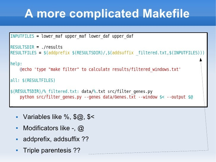 makefile variable assignment 37 how make reads a makefile gnu make does its work in two distinct phases variable assignment variable definitions are parsed as follows.