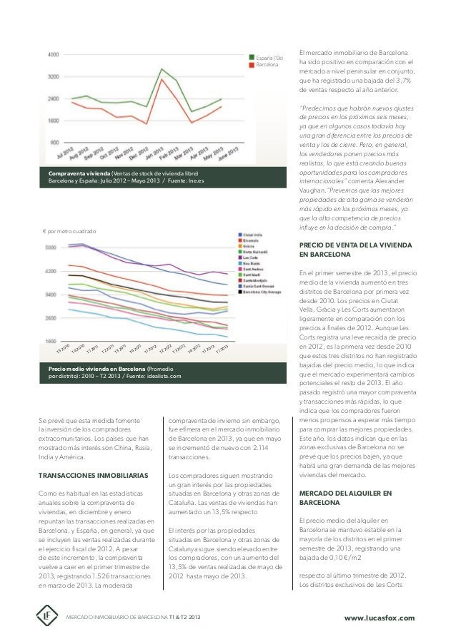 España ('0s) Barcelona  El mercado inmobiliario de Barcelona ha sido positivo en comparación con el mercado a nivel penins...