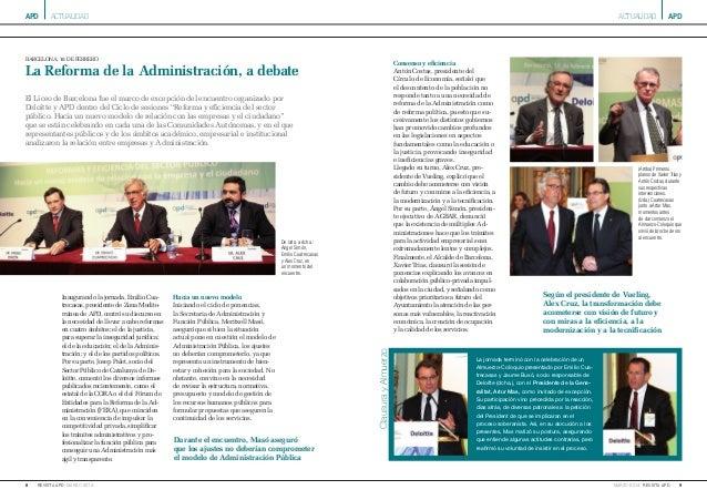 apd 8 marzo 2014revista apd apd 9marzo 2014 revista apd barcelona, 18 de febrero La Reforma de la Administración, a debate...