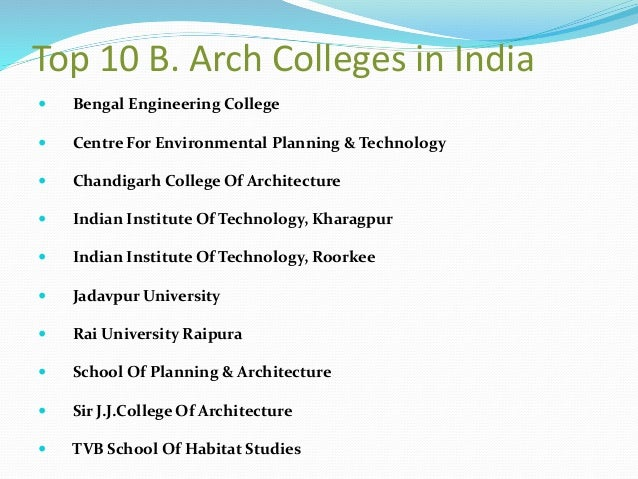 Top 10 B. Arch Colleges ...