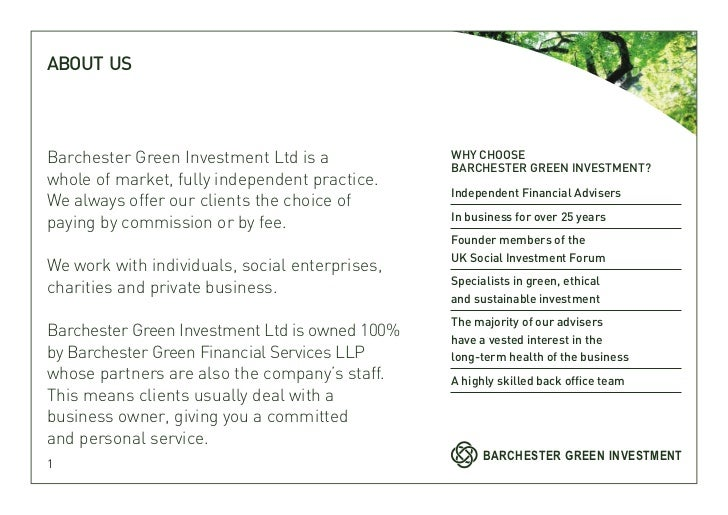 ABOUT USBarchester Green Investment Ltd is a            WHY CHOOSE                                                BARCHEST...