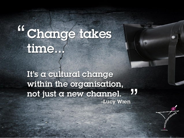 7Social media content strategy 2014 – Lucy Wren Change takes time... It's a cultural change within the organisation, not j...