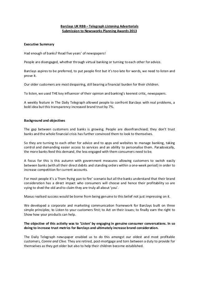 BarclaysUKRBB–TelegraphListeningAdvertorials SubmissiontoNewsworksPlanningAwards2013   ExecutiveSummary ...