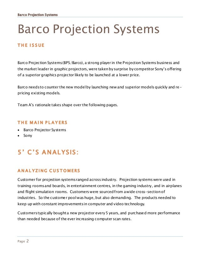 barco projection systems (a): worldwide niche marketing