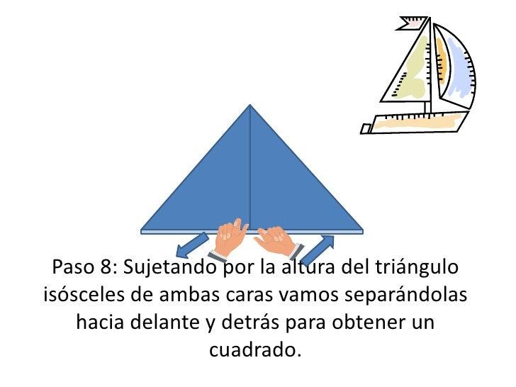Paso 8: Sujetando por la altura del triángulo isósceles de ambas caras vamos separándolas hacia delante y detrás para obte...
