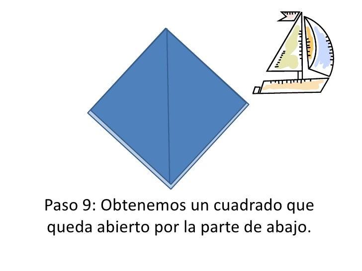 Paso 9: Obtenemos un cuadrado que queda abierto por la parte de abajo.<br />