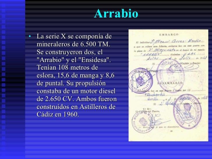 Arrabio   <ul><li>La serie X se componía de mineraleros de 6.500 TM. Se construyeron dos, el &quot;Arrabio&quot; y el &quo...