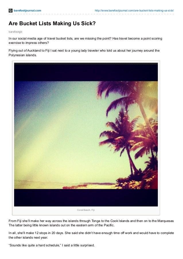 barefootjournal.com http://www.barefootjournal.com/are-bucket-lists-making-us-sick/ barefootgb Are Bucket Lists Making Us ...