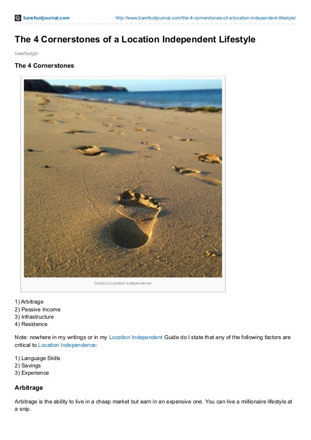 barefootjournal.com http://www.barefootjournal.com/the-4-cornerstones-of-a-location-independent-lifestyle/ barefootgb The ...