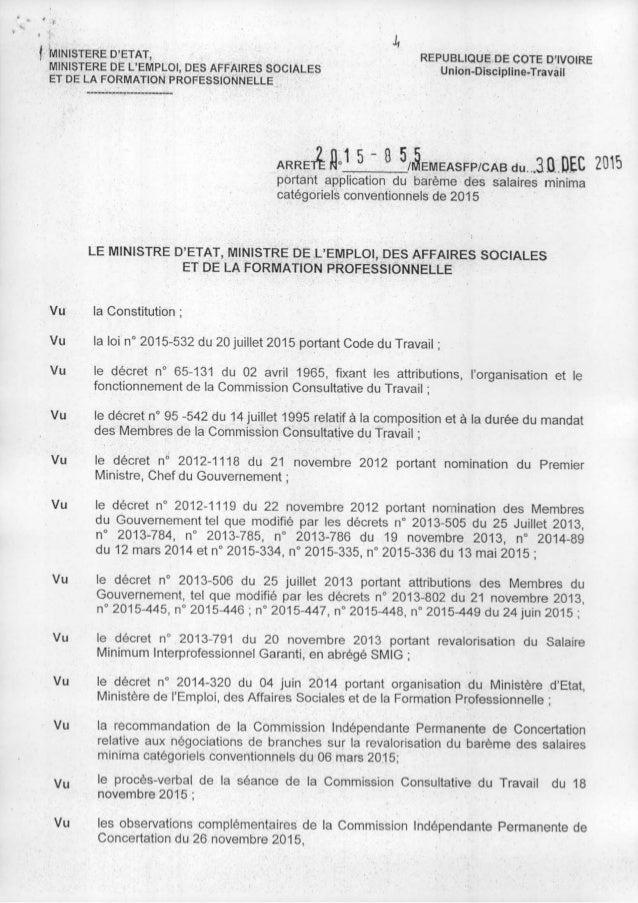 ., f 'MINISTERE D~ETAT, MINISTERE DE L'EMPLOI, DES AFFAIRES SOCIALES ET DE LA FORMATION PROFESSIONNELLE REPUBLIQUE DE COTE...