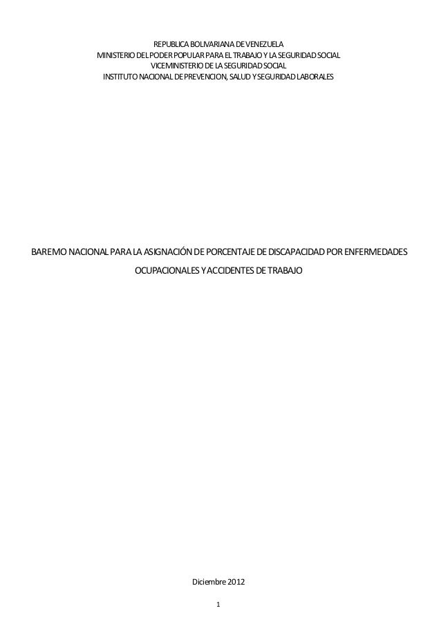 1 REPUBLICABOLIVARIANADEVENEZUELA MINISTERIODELPODERPOPULARPARAELTRABAJOYLASEGURIDADSOCIAL VICEMINISTERIODELASEGURIDADSOCI...