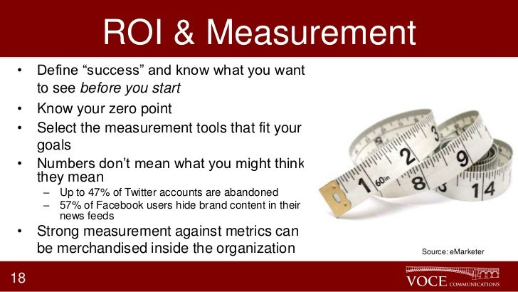 """ROI & Measurement• Define """"success"""" and know what you want  to see before you start• Know your zero point• Select the meas..."""