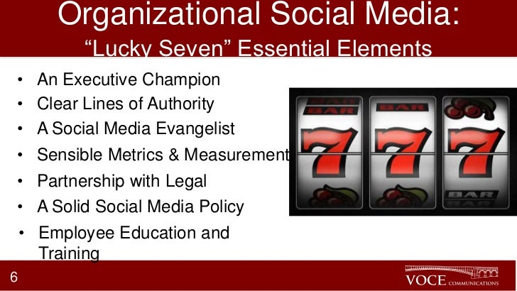"""Organizational Social Media:         """"Lucky Seven"""" Essential Elements•   An Executive Champion•   Clear Lines of Authority..."""