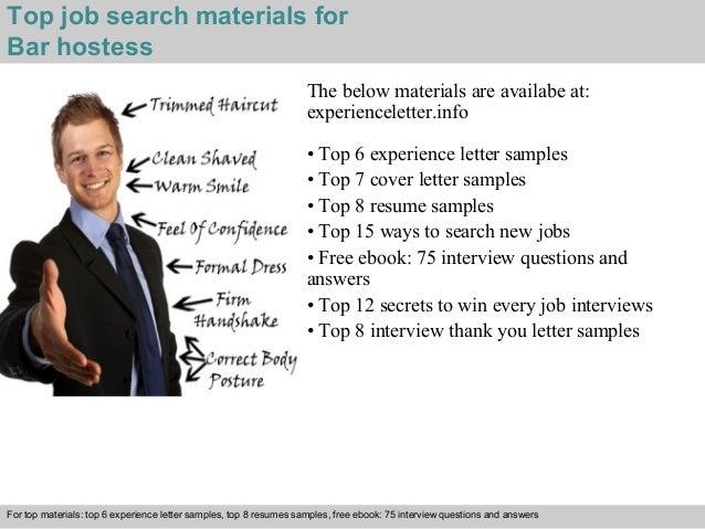4 Top Job Search Materials For Bar Hostess