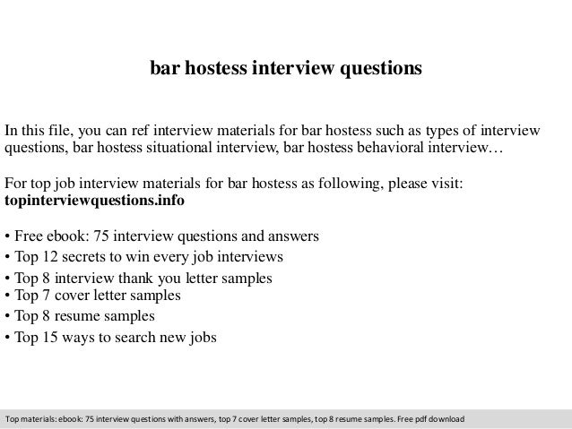Bar Hostess Interview Questions In This File, You Can Ref Interview  Materials For Bar Hostess ...