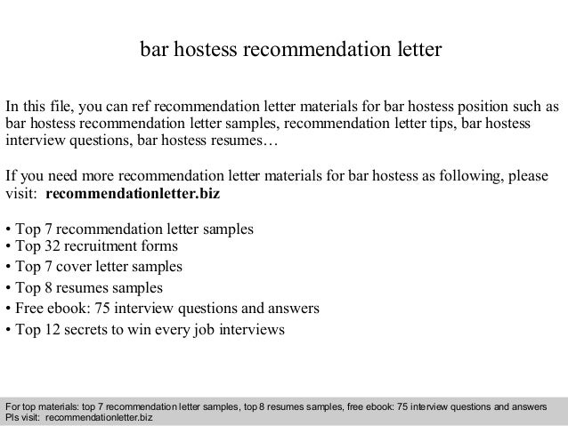 Interview Questions And Answers U2013 Free Download/ Pdf And Ppt File Bar  Hostess Recommendation Letter ...