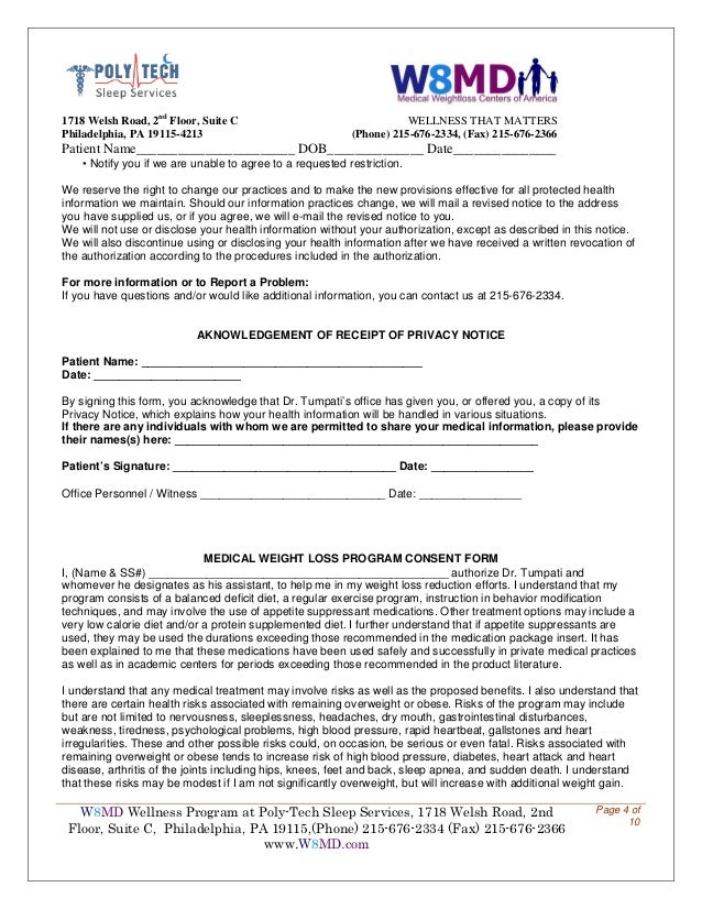 bariatric weight loss forms for poly tech sleep and w8md weight los