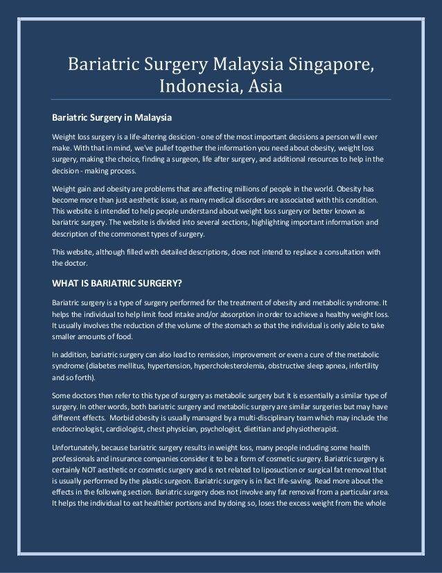 Bariatric Surgery Recovery In Malaysia