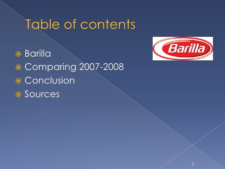 case analysis of barilla spa