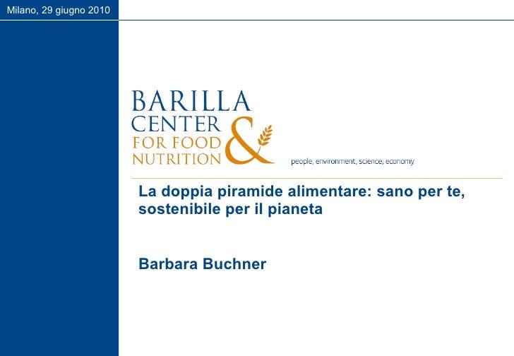 La doppia piramide alimentare: sano per te, sostenibile per il pianeta Barbara Buchner Milano, 29 giugno 2010