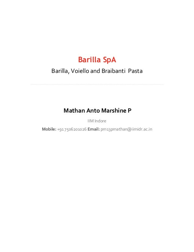 barilla scenario review essay