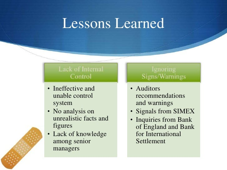 recommendation to barings bank Barings bank (risk management disaster) the story of the barings is one of a rogue trader that alone caused the bankruptcy of a supposed solid bank.
