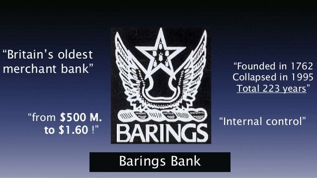 nick leeson barings bank s internal control Barings bank was a british merchant bank  conducted by an employee named nick leeson working at its office  barings gradually diversified from wool into many.